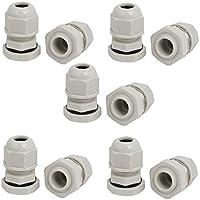 Portal Cool PG9 2 mm-3 mm Rango Nylon 6 orificios Cables ajustables Glándula Conector Gris 10pcs