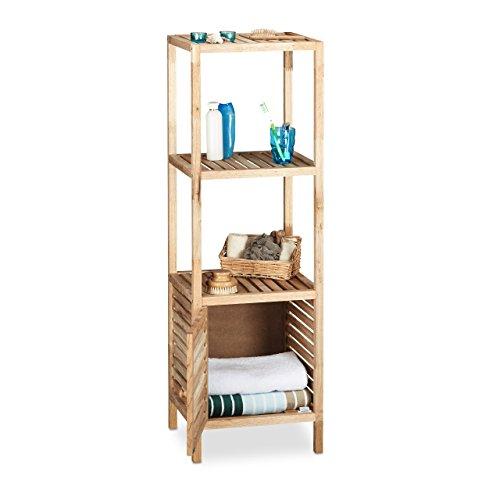 4 Regal Bücherregal Nussbaum (Relaxdays Badregal Walnuss stehend, offenes Holzregal mit Schranktür, 4 Ablagen Badschrank, HBT 123 x 40 x 36 cm, natur)