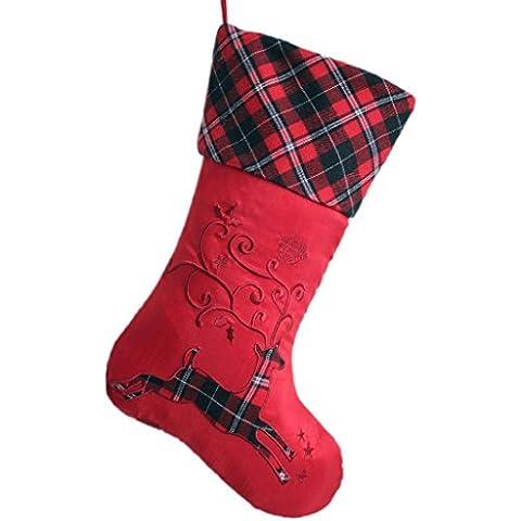 SORRENTO tinta in tessuto con ricami, motivo: renna, corpo, Plaid scozzese-Calza di Natale con polsino 26,67 cm *(10,5 44,45 (17,5 cm, colore: rosso