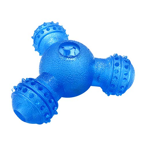 DeYL Haustier Spielzeug Tragbare DREI-Loch-Tumbler Haustier Hund Feeder Leakage Lebensmittel-Dispenser Chew Spielzeug - Blau Depression Tumbler