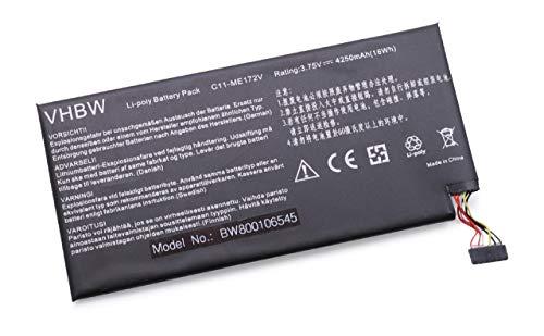 vhbw Batterie 4250mAh (3.75V) pour Pad Netbook Tablette ASUS K004, ME172, ME172-GY08, ME172V, ME371, ME371MG, MeMO Pad ME172 comme C11-ME172V.