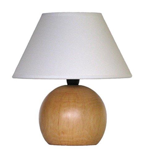 Abat Jour Lampe Nachttischlampe, mit Kugel aus gedrechseltem Holz und Lampenschirm, eigene Herstellung, hergestellt in Italien (helles Holz)