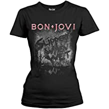 Bon Jovi T-Shirt Slippery When Wet Album Femme Noir