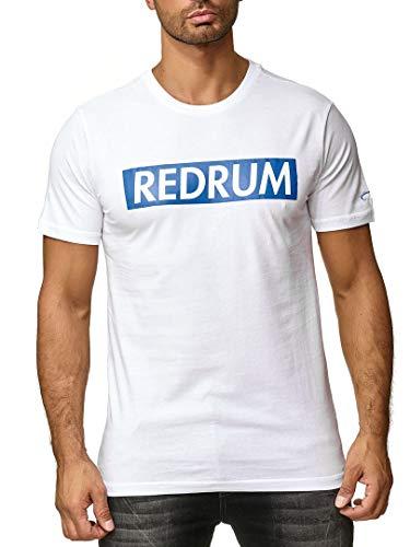 REDRUM Streetwear Fashion Herrenshirt T-Shirt Hip-Hop Kurzarm-Shirt Men beschriftet Beschriftung Aufschrift Bedruckt Modell Logo (Weiß, 48 - S)