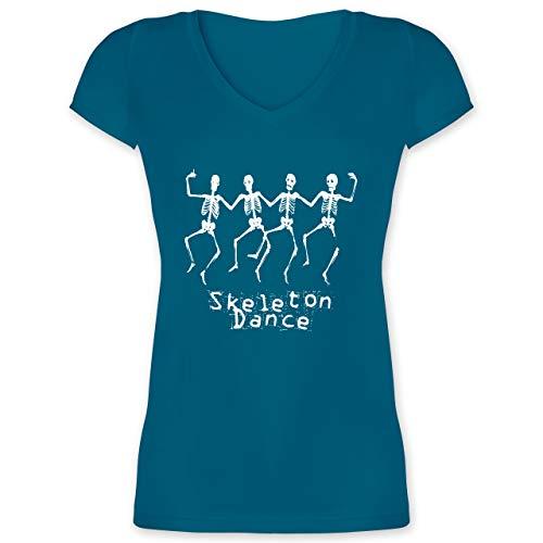 Halloween - Skeleton Dance Skelett Tanz - M - Türkis - XO1525 - Damen T-Shirt mit V-Ausschnitt