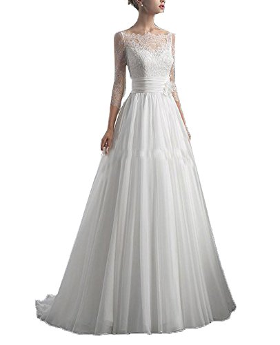 Fanciest Damen A Line 3/4 Sleeves Lang Tulle Spitzen Brautkleider for Bride White UK16