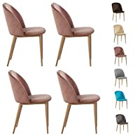Set of 4 Velvet Dining Chairs with Wood Effect Metal Legs Living Room Chair Bradley (Pink)