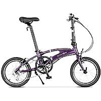 Monociclos Bicicleta Plegable Bicicleta Unisex 16 Pulgadas Bicicleta pequeña Bicicleta de aleación de Aluminio portátil de 8 velocidades (Color : Purple, Size : 126 * 35 * 105cm)