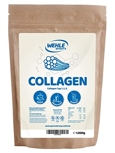 Collagen Pulver 1kg - Kollagen Hydrolysat Peptide - Eiweiß-Pulver Geschmacksneutral - Wehle Sports - Made in Germany Kollagen Typ 1 2 3 Lift Drink -