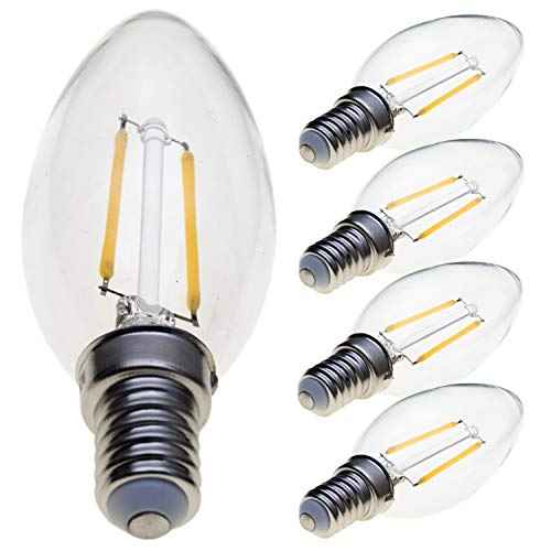 LVL 5-Pack E14 LED Candle Filament Bulbs 2W, 25W Clear Candle Bulbs Equivalent , Warm White Candelabra E14 SES Bulb, 360 Degree Beam Angle, Non-Dimmable, 250Lm, Warm White 2700K[Energy Class A+]