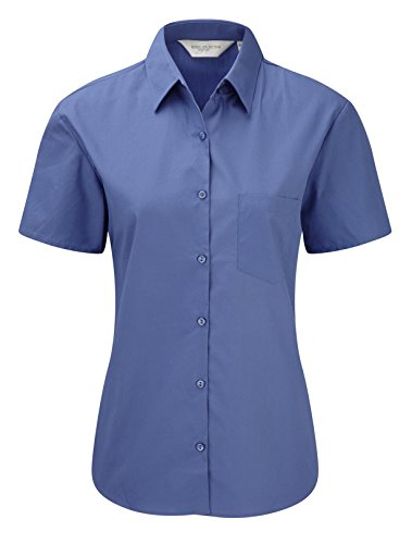 Russell Collection Womens Easycare Poplin Short Sleeve Shirt Bleu Aztèque