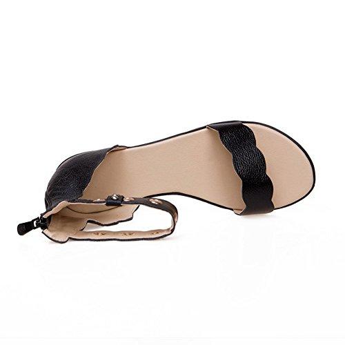 AllhqFashion Femme Zip Ouverture D'Orteil Non Talon Sandales à Plat Noir
