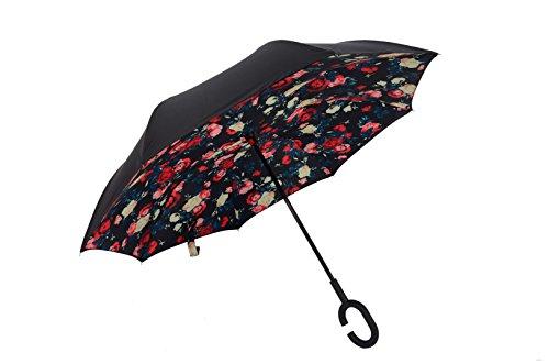 Baby Pig Parapluie coupe-vent arrière pliable double couche inversée innovant Sun Block Eco-Friendly Bumbershoot en forme de C mains poignée parapluie...