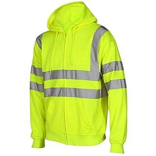 Hi Vis Viz Hooded Sweatshirt High Visibility Reflective Tape Band Work Fleece Safety Sweat Shirts Security Jacket Workwear Hoodie Work Wear Hoody Jumper Top (Zip Hoody Yellow, S)