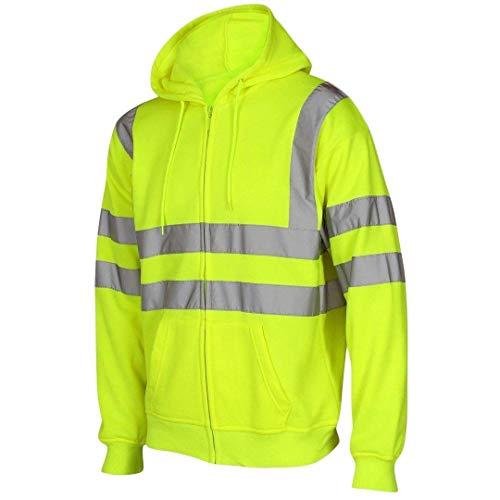 Ad alta visibilità con cappuccio alta visibilità riflettente nastro fascia di sicurezza da lavoro pile felpe con cappuccio uomo giacca calda di sicurezza da lavoro abbigliamento da lavoro con cappuccio jumper top plus grandi dimensioni s-5x l yellow / zip up xl