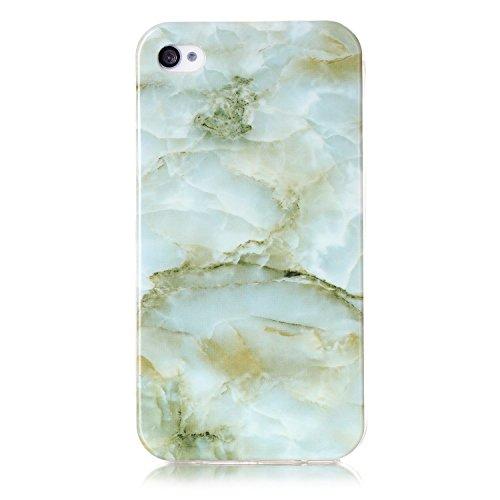 "Coque iPhone 4s, SsHhUu Ultra Mince [Marbre Pattern] Flexible Caoutchouc Doux TPU Skin Case Bumper Silicone Gel Anti-Scratch Cover pour Apple iPhone 4s / iPhone 4 (3.5"") Noir Vert"