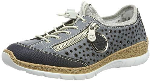 Rieker Damen N42P6-14 Sneaker, Blau (Pazifik/Atlantic/Altsilber/Silverflower 14), 39 EU