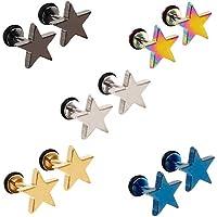 5 Pares Acero Inoxidable Pendientes para Hombre Mujer, Pendientes Hombres Plata, Pendientes Estrella Niña, Pendientes Negros Hombre, Pendientes Aretes Hombre Oro Azul Pequeños Piercing Oreja 8MM