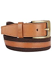 Aditi Wasan Genuine Leather & Canvas Tan - Brown Mens Belt