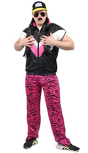 Foxxeo 80er Jahre Herren Jogginghose im Zebra Look für Jungen Kostüm - schwarz pink - Größe L/XL