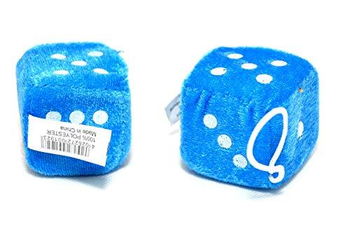 XL Plüschwürfel 2X WÜRFEL blau CarStyling für den Autospiegel 6X6 CM (Dice Blau Für Auto Fuzzy)