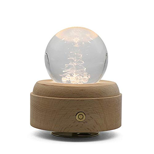 WEI MM Caja música Bola Cristal árbol Navidad 3D