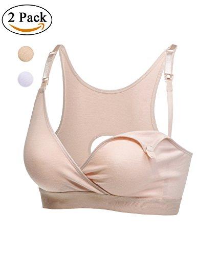 Gratlin ? Sujetador Algodón Premamá De Lactancia Espalda Nadadora para Mujer Blanco/Beige S