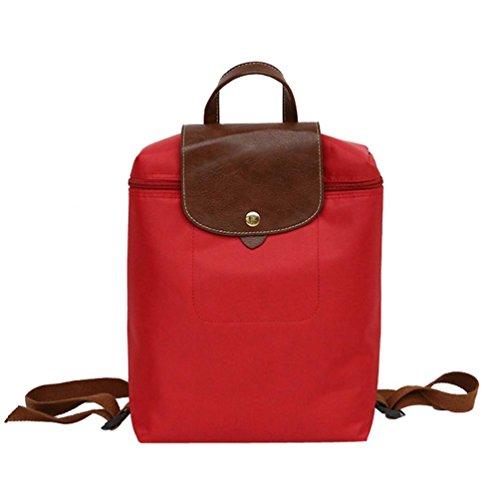 DOGZI Damen Ledertasche Kleine, Handtasche Tasche Ngetasche Strandtasche Schulter Taschehandtasche Freizeit Reisen Nylon Reißverschluss Tasche Student Rucksack Falttasche Umhängetasche (Rot) -