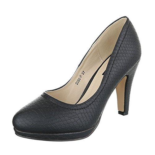 High Heel Damenschuhe Plateau Pfennig-/Stilettoabsatz High Heels Ital-Design Pumps Schwarz 2066-P