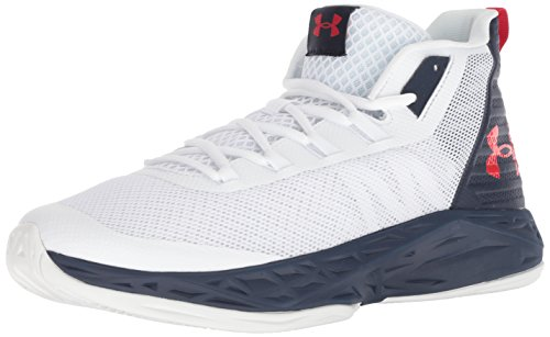 Under Armour Herren UA Jet Mid Basketballschuhe, Weiß (White/Midnight Navy/Red), 44 EU