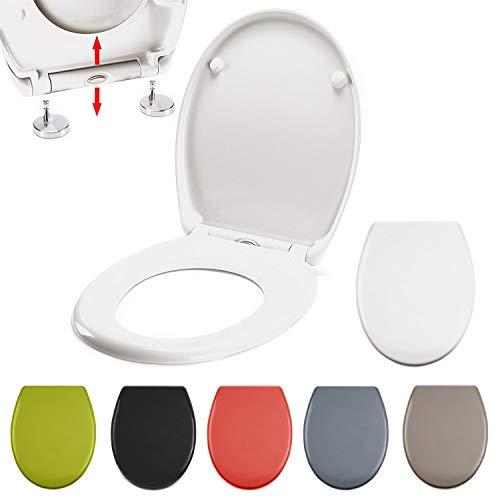 MSV WC Sitz Toilettendeckel Duroplast mit Absenkautomatik und auf Knopfdruck abnehmbar zur Reinigung in Weiß - Easy Fix Clip System