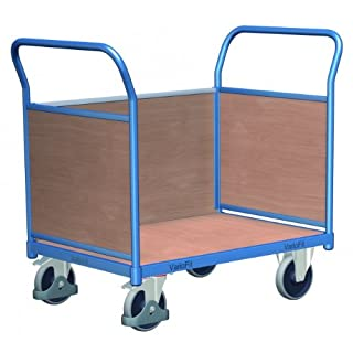 Cordes Dreiwandwagen mit Holzwänden, Ladefläche LxB 1030x700mm, Außenmaße LxBxH 1190x700x1006 mm, Traglast 500 kg, 2 Lenk-, 2 Bockrollen