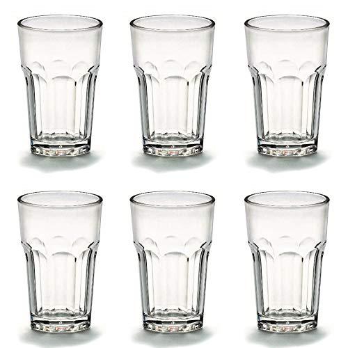 Viva Haushaltswaren - 6 x bruchfestes Latte Macchiato Glas 300 ml, Longdrinkgläser aus hochwertigem Kunststoff als Wasserglas, Cocktailglas, Kaffeeglas, Partybecher etc. verwendbar (wie echtes Glas)