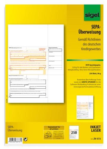 Preisvergleich Produktbild Sigel ZV572 SEPA-Überweisungen, A4, 250 Blatt, incl. free download Beschriftungsassistent