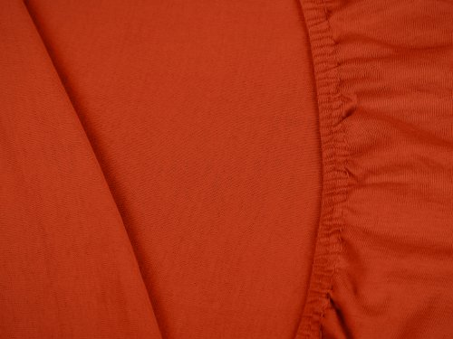 npluseins klassisches Jersey Spannbetttuch - erhältlich in 34 modernen Farben und 6 verschiedenen Größen - 100% Baumwolle, 90-100 x 200 cm, kaminrot - 5