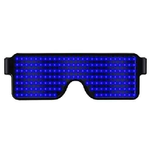 Hzjundasi Unisex Blinkt LED Leuchtend Brillen, Sicherheit Licht auf Kostüme Sonnenbrillen mit 8 Modi für Tanz Party Geburtstag Halloween Christmas Bar Konzert (Blau)
