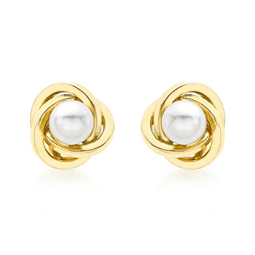 Carissima Gold Damen-Ohrstecker 18ct 9mm Knot and Pearl Stud Earrings 750 Gelbgold Rundschliff China-Zuchtperle Weiß - 7.57.3313
