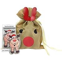 Taschenwärmer Rentier mit roter Nase (2er Set) & Weihnachtsgeschenkbeutel - tolles Wichtelgeschenk preisvergleich bei billige-tabletten.eu