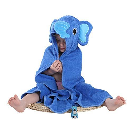 YIIVAN Kinder Handtuch Kleinkind Baumwolle Bademantel Baby Tier Kapuzen Badetuch Kinder Cartoon Handtuch, Blauer Elefant