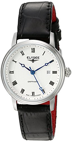 ELYSEE Made in Germany Monumentum Lady 77008L 31mm Stainless Steel Case Black Calfskin Synthetic Sapphire Women's Watch