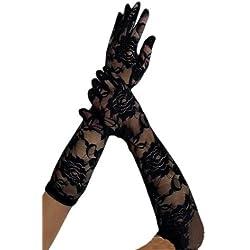 krautwear® Guantes para mujer, de puntilla, largo hasta el codo, de noche, negros Schwarz-059 Talla única