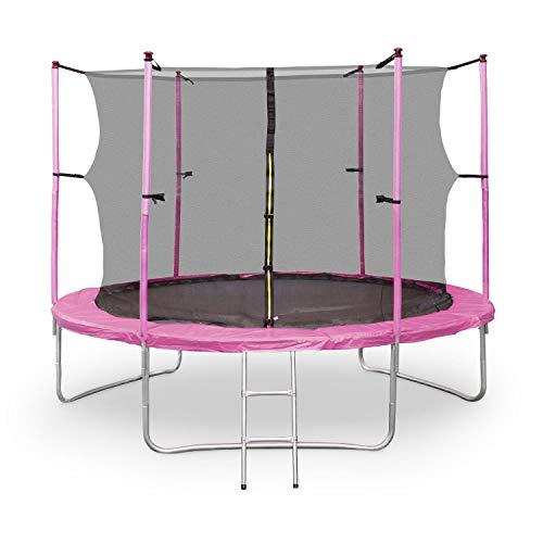 Klarfit Rocketgirl 305 Trampolin Gartentrampolin (305 cm Durchmesser, Sicherheitsnetz, Abdeckbaube, bis max. 150 kg belastbar, Stangen gepolstert, Schaumstoff Abdeckung) rosa