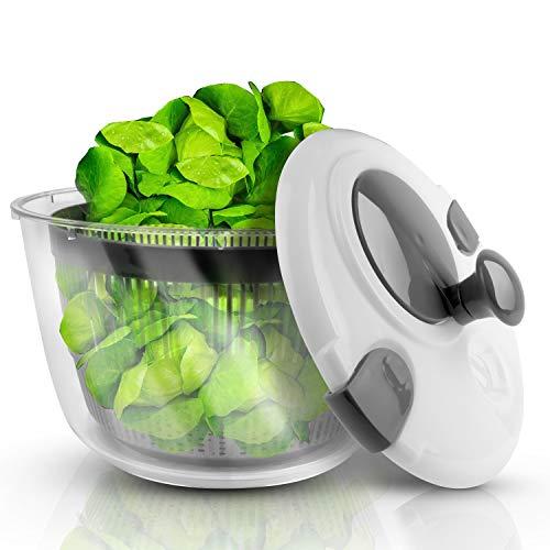 Lacari ® Salatschleuder mit großem [5L] Fassungsvermögen - Optimaler Salattrockner mit Ablaufsieb - Einfaches Bedienen durch Drehen der Kurbel