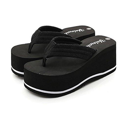 SHANGXIAN Frauen-Hand-Boden-Flip-Flops mit Keilabsatz Black