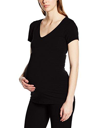 Noppies Tee V Neck Ss Amsterdam, T-Shirt de Maternité Femme Noir - Noir