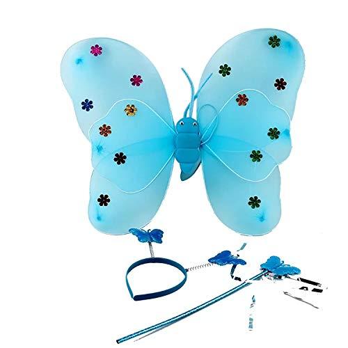 Erwachsene Für Kostüm Schmetterling Fantasie - thematys Schmetterling Kostüm 3-teilig Verkleidungs-Set für Kinder in 3 Flügel, Haarband und Zauberstab perfekt für Fasching, Karneval & Cosplay (Blau)