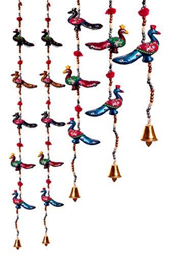 Jaipur Handicraft Paper Mache Decorative Peacock Door Hangings with 1 Key Chain (96 cm, Multicolour) -Set of 2