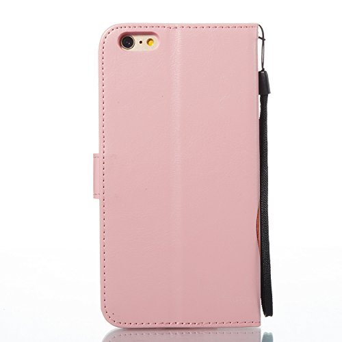 Custodia in Pelle per iPhone 6S Plus,Portafoglio Wallet Cover per iPhone 6 plus,Leeook Retro Elegante Goffratura Viola Farfalla Fiore Modello Cordoncino Snap-on Magnetico Carte Slot e Supporto Funzion Farfalla,Rosa