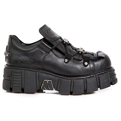 New Rock M.665-S2 Zapatos Unisex Hombre Mujer Negro Cuero Piel Tacón Gotico Heavy Punk