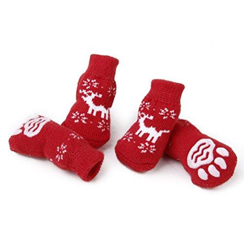 LUOEM 4 Stück Anti Rutsch Socken Hunde Kleine Hundetatzenschutz Puppycat Socken Weihnachten Rentier mit Paw Prints Größe S -